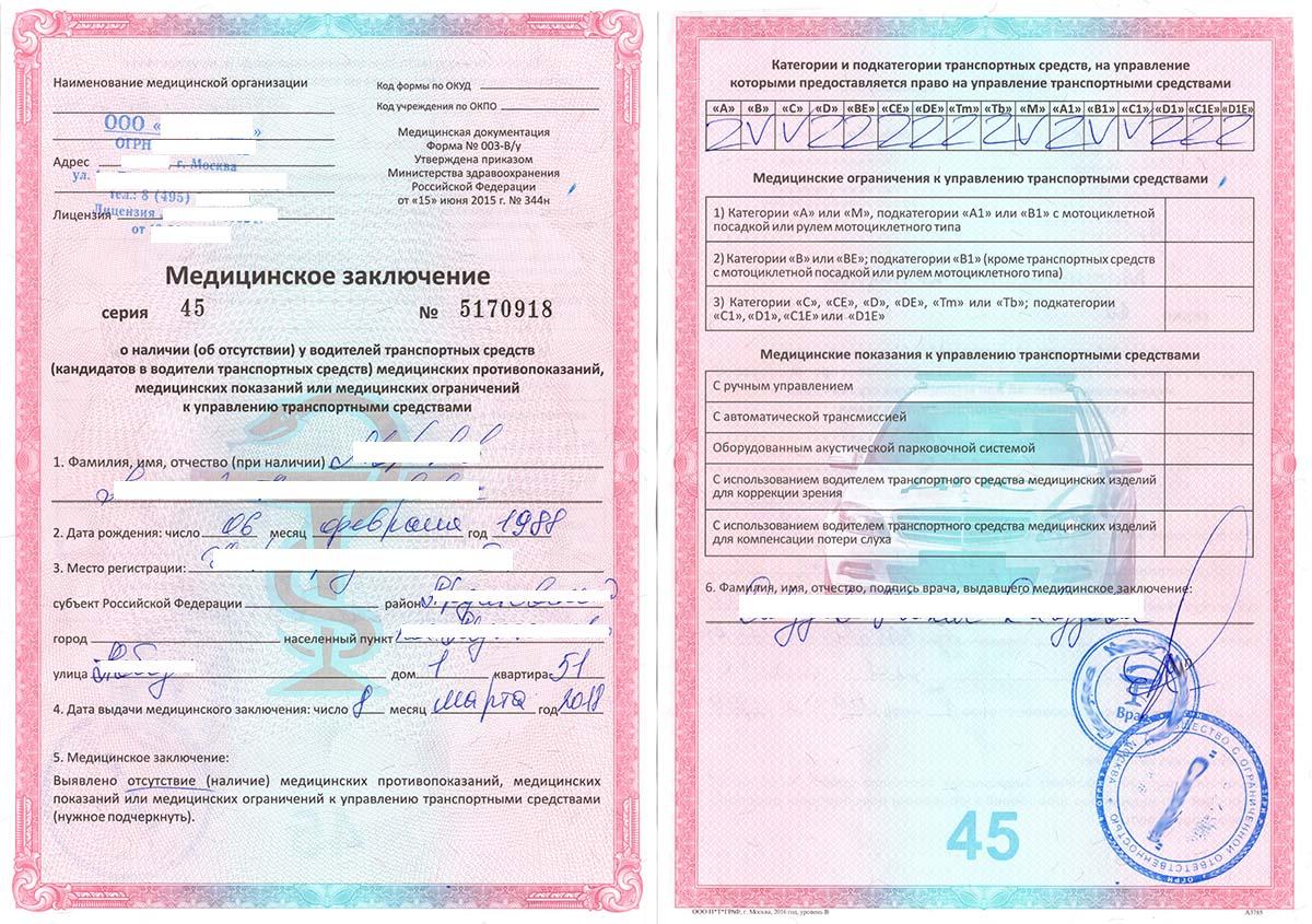 медицинское заключение водительской комиссии